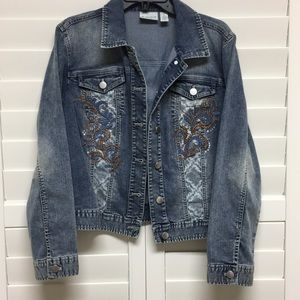 Denim jacket with faux worn look by Chico's
